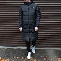 Nike Мужская черная стеганая удлиненная куртка ветровка с капюшоном зима/осень.Мужской плащ пуховик черный 50