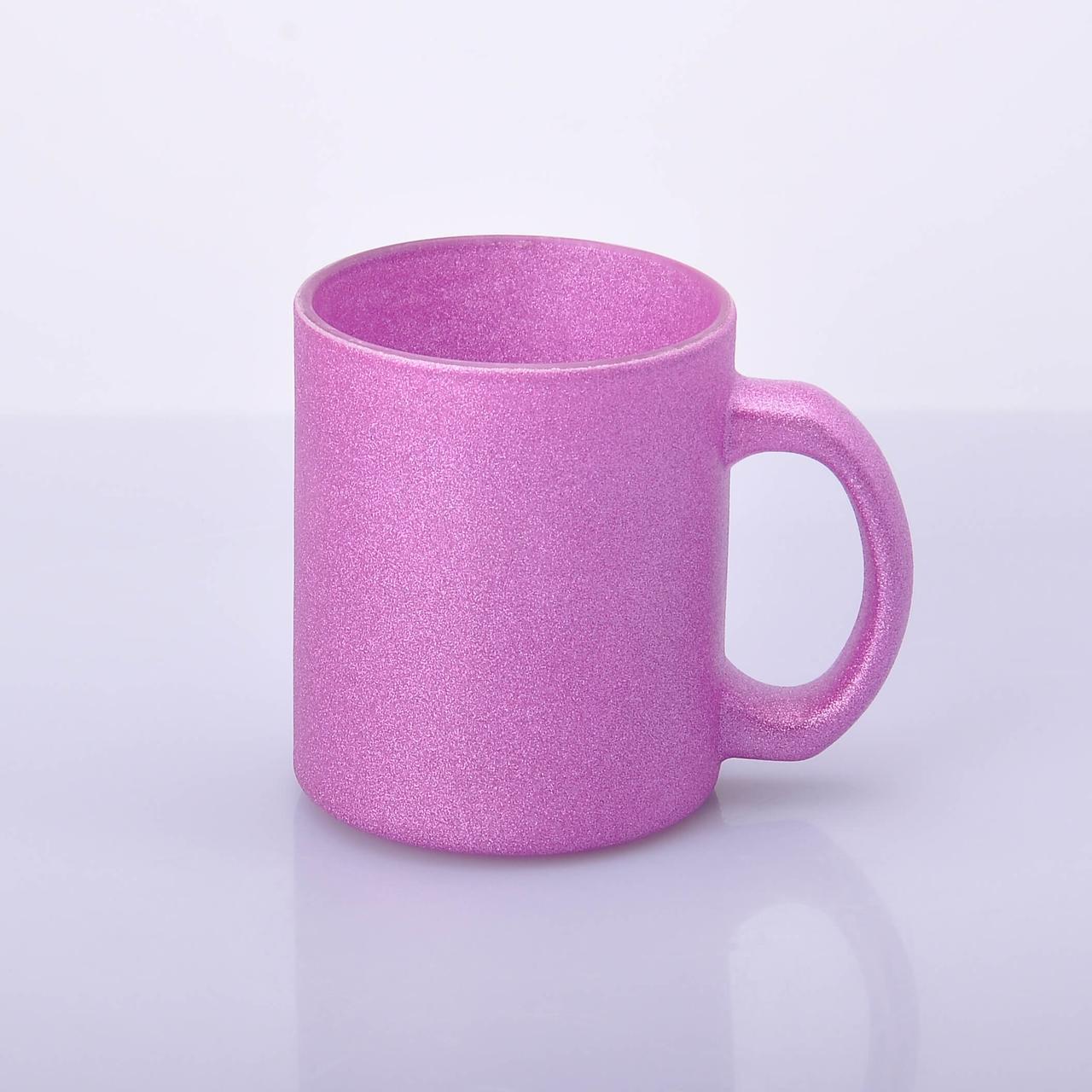 Чашка Глиттер стекло для сублимации 330мл Розовый