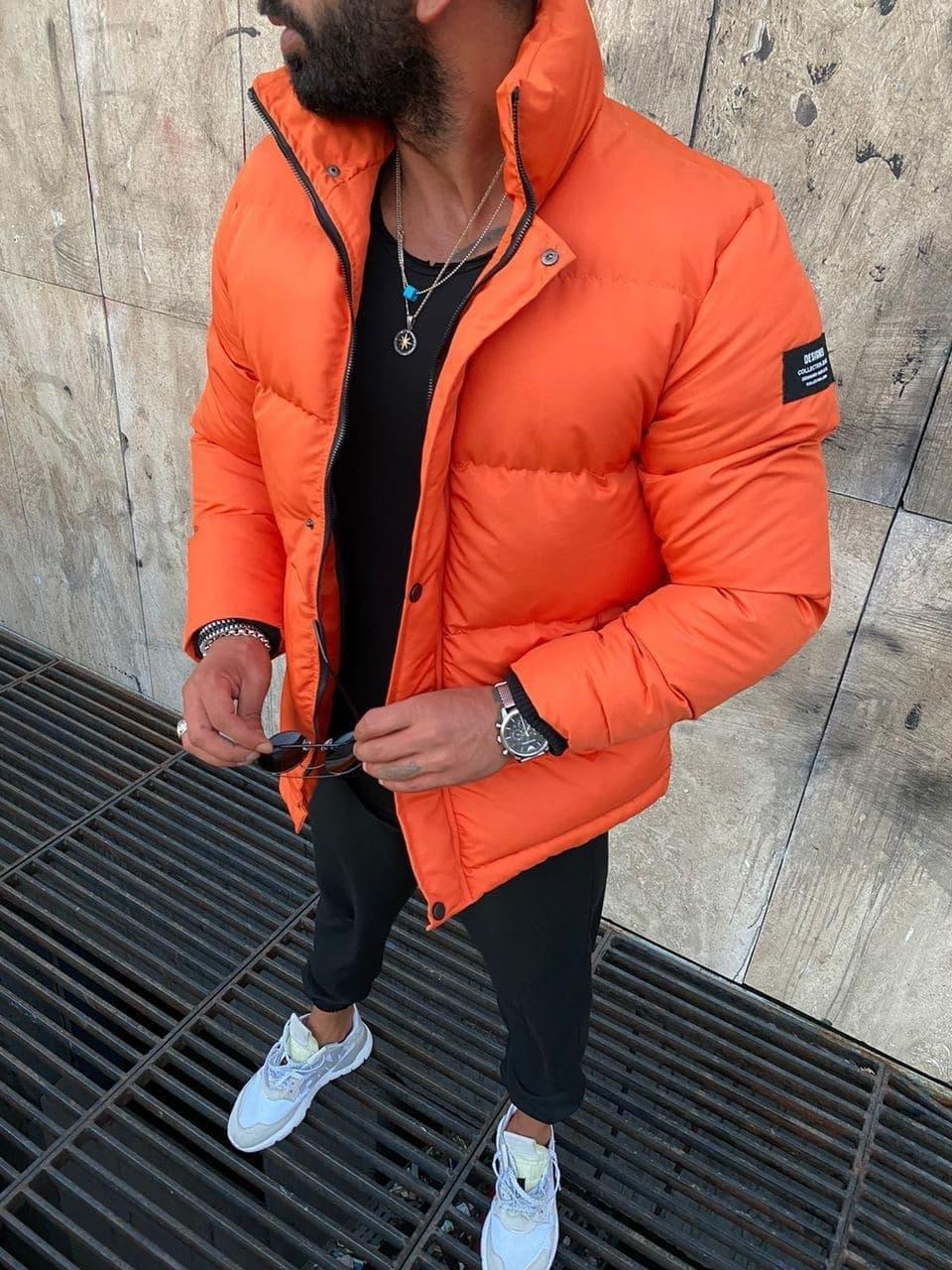 Чоловіча зимова куртка помаранчева 8779-3