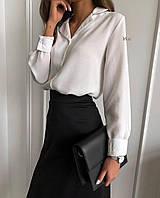 Жіноча класична блузка з довгим рукавом під горло