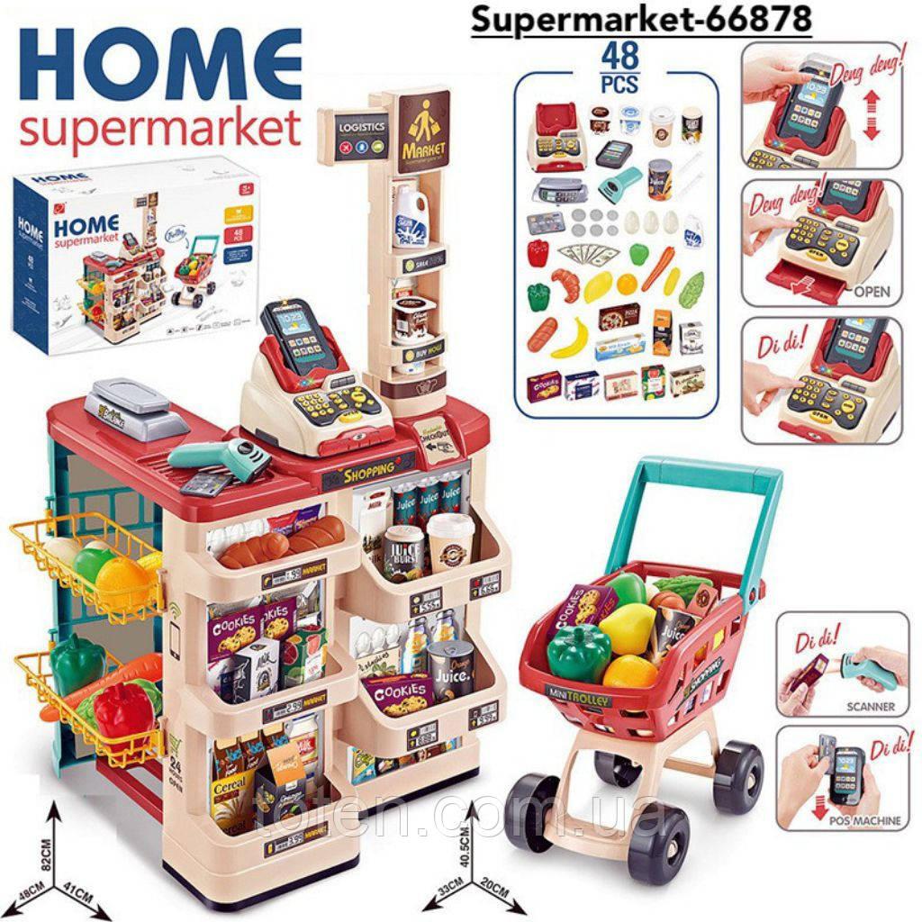 Детский супермаркет/магазин с тележкой. Сканера, весы, деньги, фрукты/овощи 668-78 Т