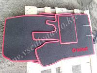 Текстильные коврики серые с красным для Smart Fortwo 450 (в салон и в багажник)