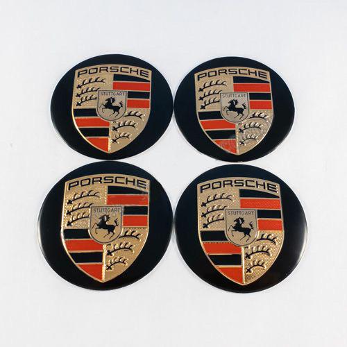 Наклейки на колпачки Porsche черные/цветной лого 60 мм