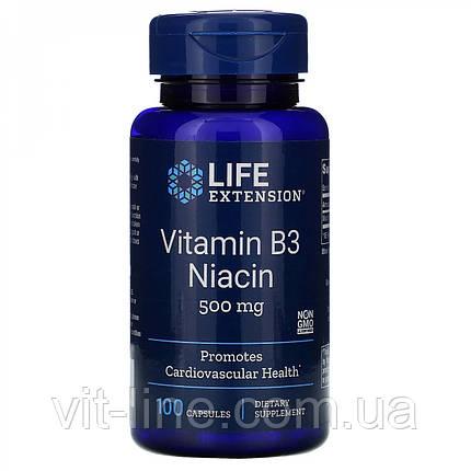 Life Extension, Витамин B3 Ниацин, 500 мг, 100 капсул, фото 2