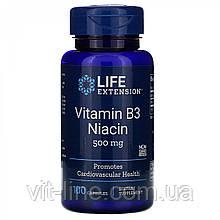 Life Extension, Витамин B3 Ниацин, 500 мг, 100 капсул