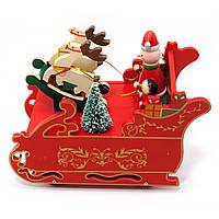 Музыкальная игрушка к новому году Снеговик в санях