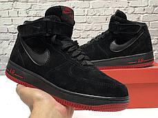 Зимние кроссовки Nike Air Force Black/red с мехом, мужские кроссовки. ТОП Реплика ААА класса., фото 2