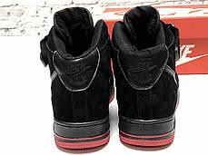 Зимние кроссовки Nike Air Force Black/red с мехом, мужские кроссовки. ТОП Реплика ААА класса., фото 3