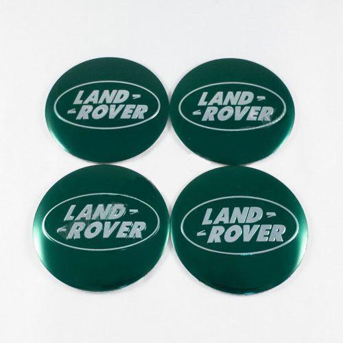 Наклейки на ковпачки Land Rover зелені / хром лого 65 мм