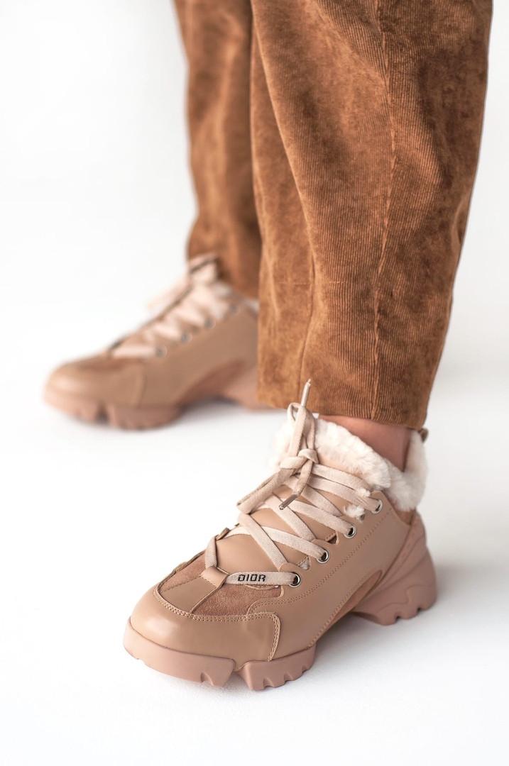 """Женские зимние кроссовки Dior D-Connect """"Beige"""" fur ( В стиле Диор )"""