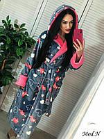 Женский плюшевый халатик с капюшоном