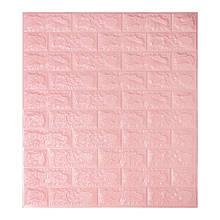 Декоративная 3D панель самоклейка под кирпич Розовый 700x770x7мм