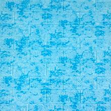 Декоративна 3D панель самоклейка під цеглу Блакитний мармур 700х770х5мм