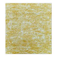 Декоративна 3D панель самоклейка під цеглу DEEP Yellow