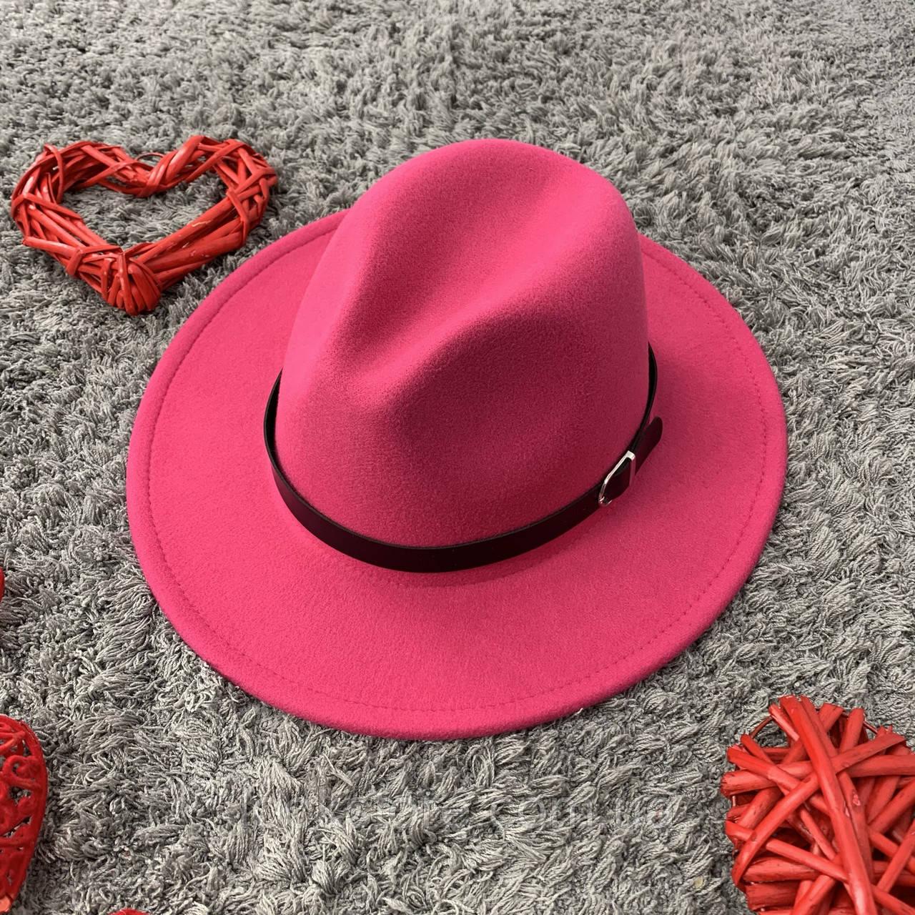 Шляпа Федора унисекс с устойчивыми полями Popular малиновая