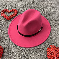 Шляпа Федора унисекс с устойчивыми полями Popular малиновая, фото 1
