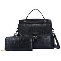 Женская сумка в наборе 2 в 1 сумка + кошелек , экокожа под крокодила, черный, фото 1