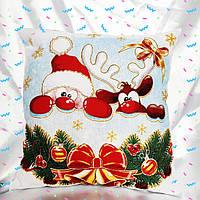 Подушка новогодняя белая Санта и Олень.Акция до Нового года!34*34 см