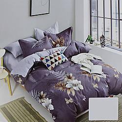 Комплект постельного белья сатин серый Цветы Koloco Двуспальний 180х220см