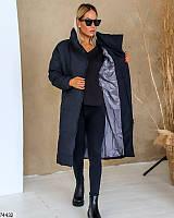 Куртка-парка женская зимняя, длинная, черная, 1065 грн
