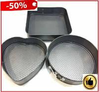 Набор разборных форм для выпечки 3 шт (сердце, круг, квадрат) A-Plus, набор форм для запекания тортов