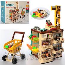 Супермаркет магазин з візком 668-79. Каса, сканер, ваги, гроші, фрукти/овочі 48 предметів