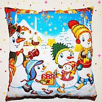 Подушка новогодняя принт Снеговики.Акция до Нового года!, фото 1