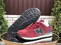 Женские зимние кроссовки замшевые New Balance бордовые, фото 1