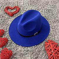 Капелюх Федора унісекс з стійкими полями Popular синя (електрик), фото 1