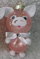 Формовая стеклянная игрушка Свинка