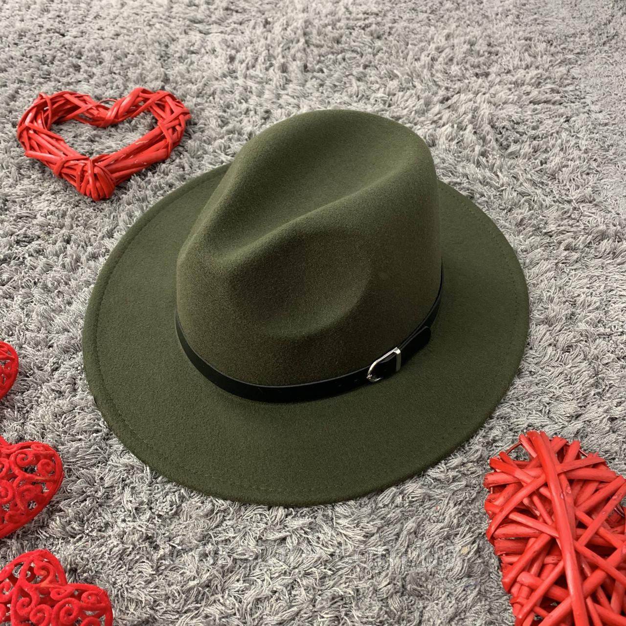Шляпа Федора унисекс с устойчивыми полями Popular зеленая (хаки)