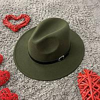 Шляпа Федора унисекс с устойчивыми полями Popular зеленая (хаки), фото 1