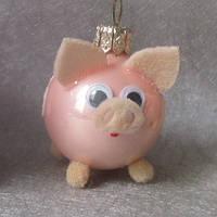 Формовая стеклянная игрушка Свинка малыш, фото 1