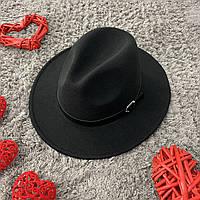 Капелюх Федора унісекс з стійкими полями Popular чорна, фото 1