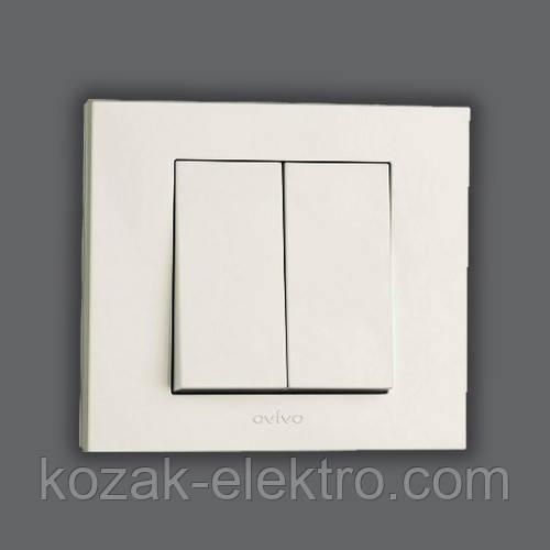 GRANO Выключатель 2 клавишный цвет белый