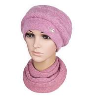 Комплект шапка и шарф вязаный женский Darina ангора ягодного  цвета, фото 1