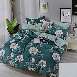 Комплект постельного белья сатин бирюзовый Цветы Koloco Двуспальний 180х220см