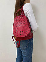 Женский кожаный рюкзак с крокодиловым принтом + в подарок наушники Apple