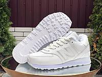 Жіночі зимові шкіряні кросівки New Balance білі, фото 1