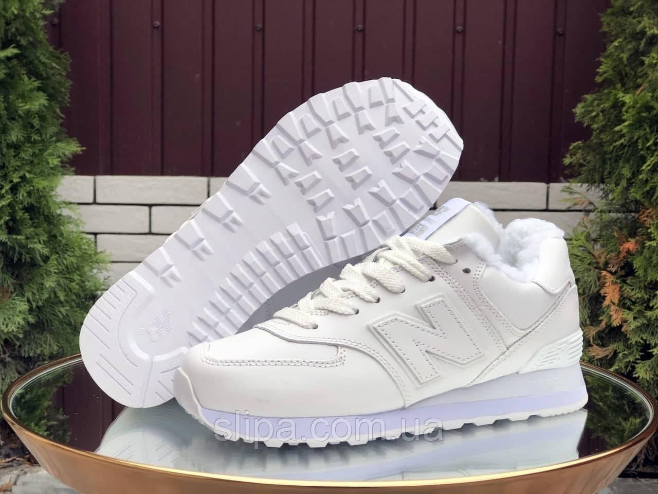 Жіночі зимові шкіряні кросівки New Balance білі