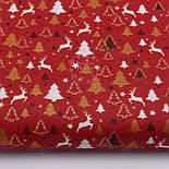 """Стандартный лоскут ткани 40*40 см """"Густые ёлки и олени"""" белые, золотистые на красном, фото 2"""
