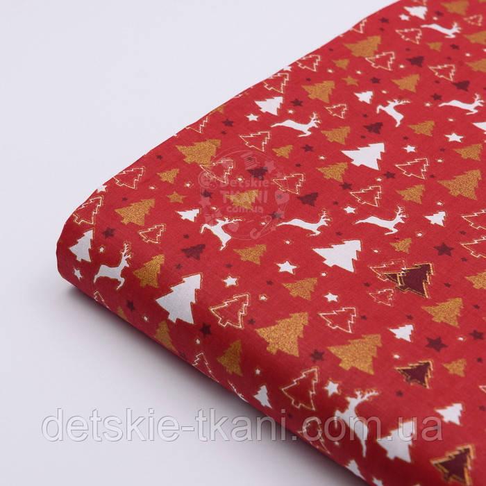 """Стандартный лоскут ткани 40*40 см """"Густые ёлки и олени"""" белые, золотистые на красном"""