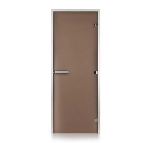 Стеклянная дверь для хамама GREUS матовая бронза 70/190 алюминий