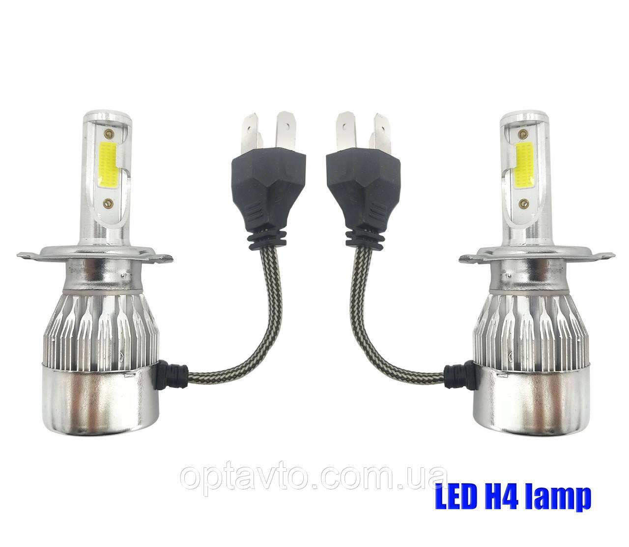 Комплект LED ламп H4 ближний и дальний свет HeadLight. Активный кулер. 6000К. 4500lm