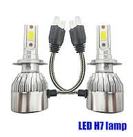 Комплект лэд ламп H7 LED лампы в противотуманки, в доп фары. Встроенный активный кулер. \ 6000K \ 4500 Lm \