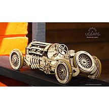 Спорткар U-9 Гран-при UGears (348 деталей)  - механический деревянный 3D пазл конструктор, фото 2