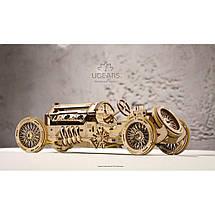 Спорткар U-9 Гран-при UGears (348 деталей)  - механический деревянный 3D пазл конструктор, фото 3