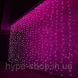 Світлодіодна гірлянда штора 3*3 метра 300 led 220v рожеве сяйво
