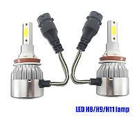 Комплект лэд ламп H8\H9\H11. LED лампы в противотуманки, в доп фары. Активный кулер. \ 6000K \ 4500 Lm \