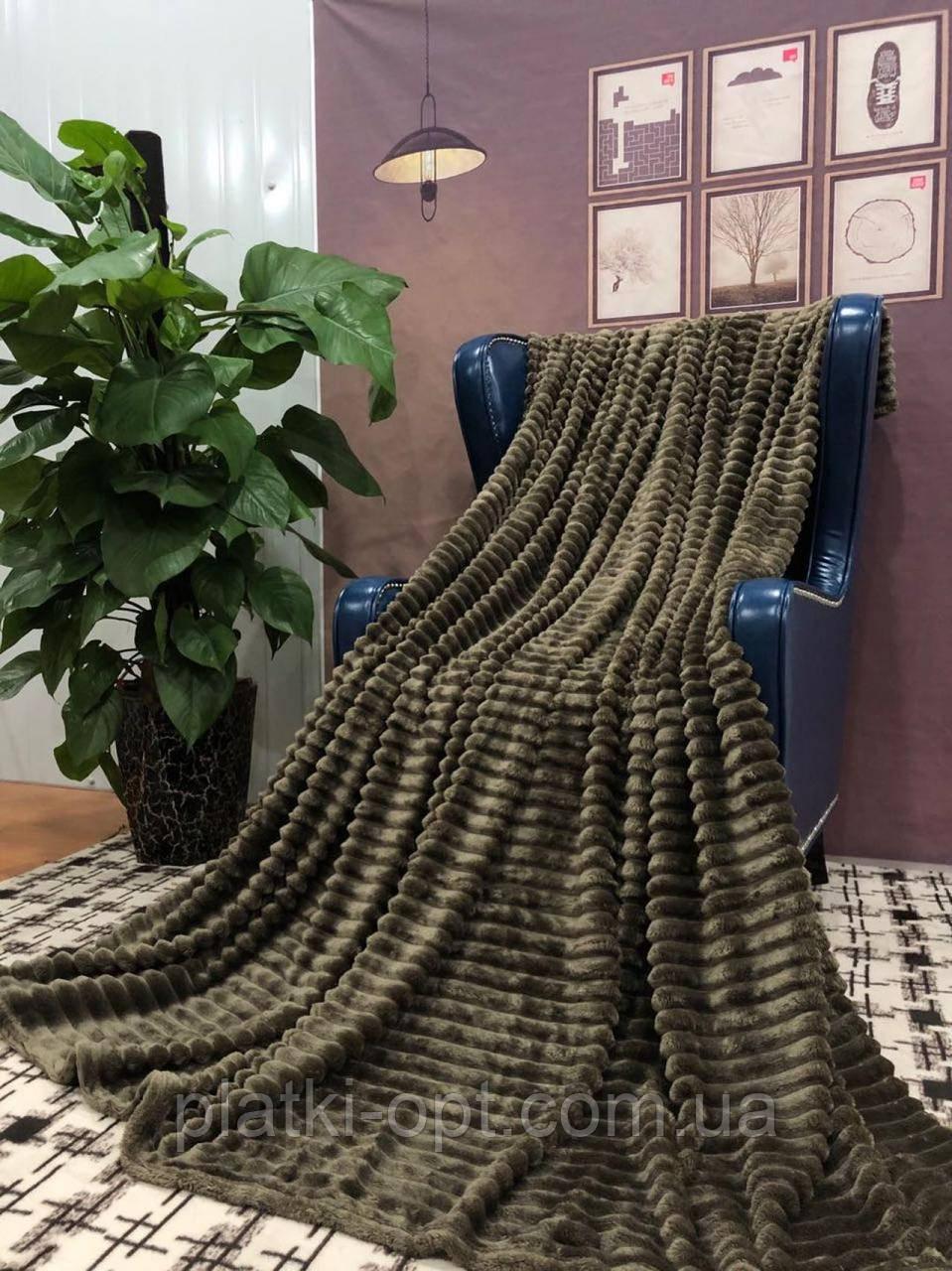 Покрывало велюровое полоса (темно-оливковое) 200х230 см